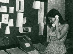 Terri Answering Phone - BW