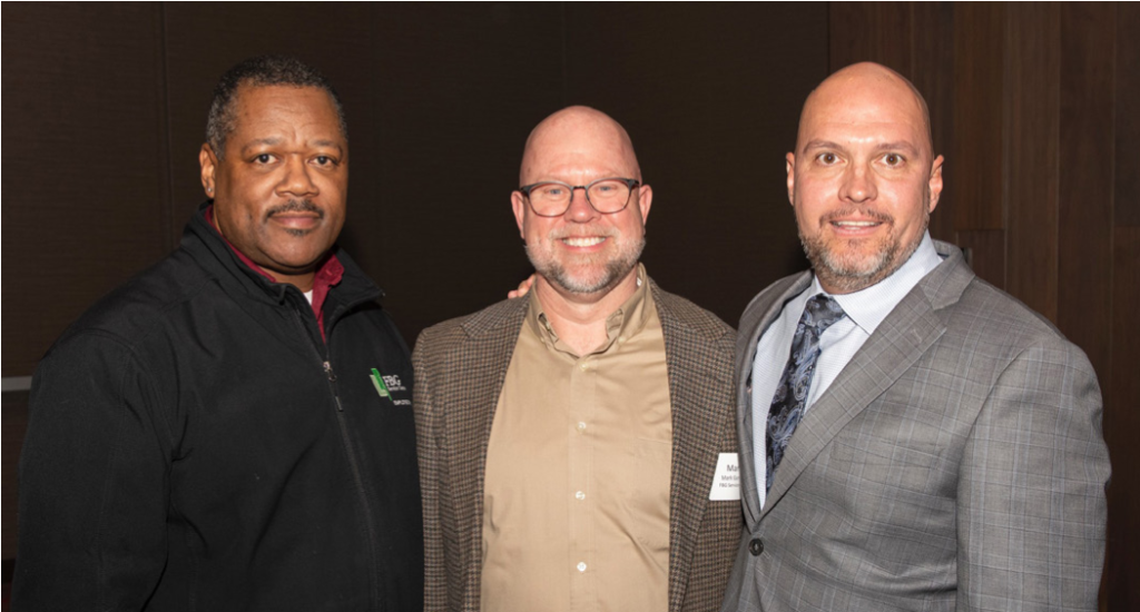 FBG Operations Supervisor Larry East (left) Des Moines District Market Manager Mark Gunhus (center) and speaker SSG Eric Maddox.
