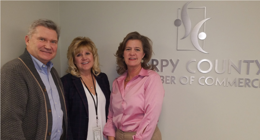 Sales Director Diane Pesek flanked by Jim Masters, Sarpy Leadership Facilitator & Coach (left) and to the right, Karen Gibler, Sarpy Chamber President.
