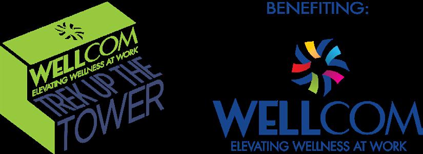 Trek Up the Tower 2019 logo and Wellcom logo